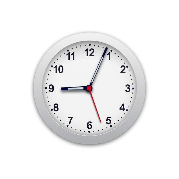 Realistische illustratie van muurklok. controleer de tijd. Premium Vector
