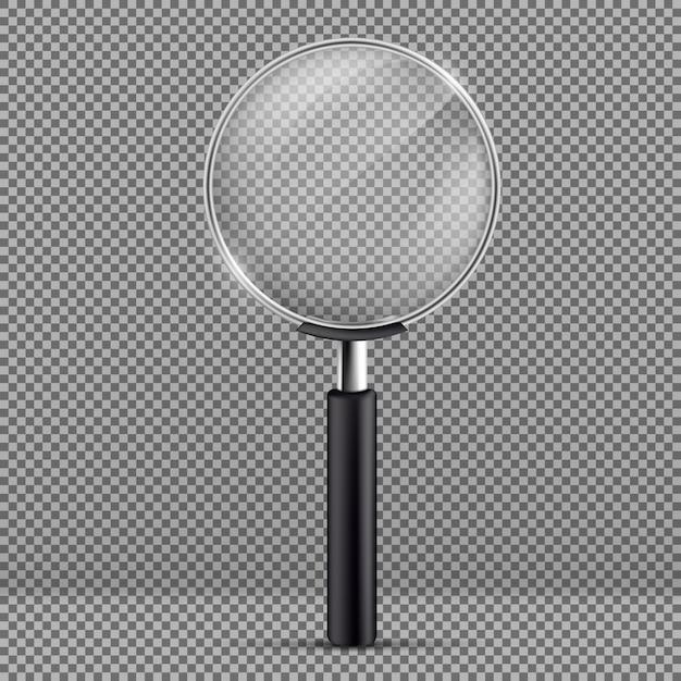 Realistische illustratie van vergrootglas met zwarte plastic handvat Gratis Vector