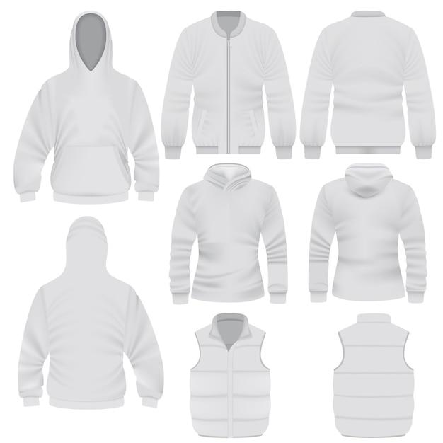 Realistische illustratie van warme kleding mockups voor het web Premium Vector
