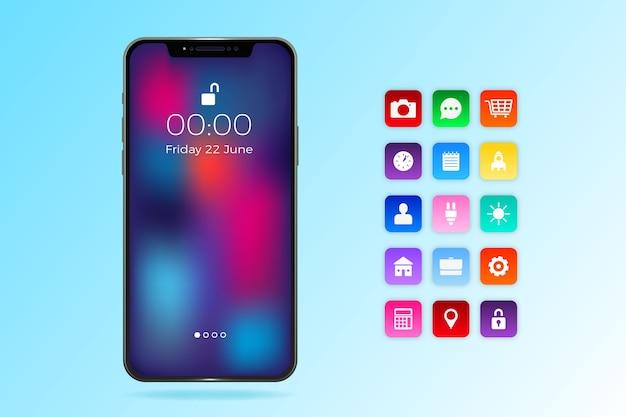Realistische iphone 11 met apps in gradiënt blauwe tinten Gratis Vector