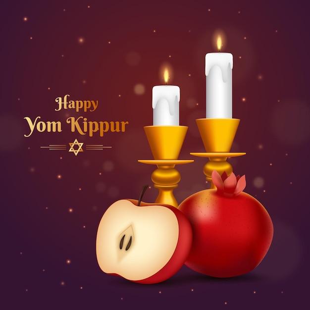 Realistische jom kipoer-achtergrond met kaarsen en fruit Gratis Vector