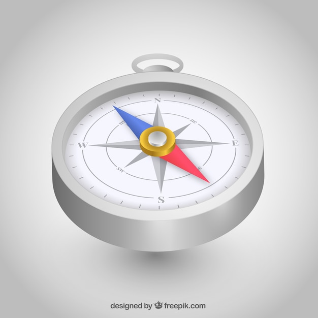 Realistische kaart kompas achtergrond Gratis Vector