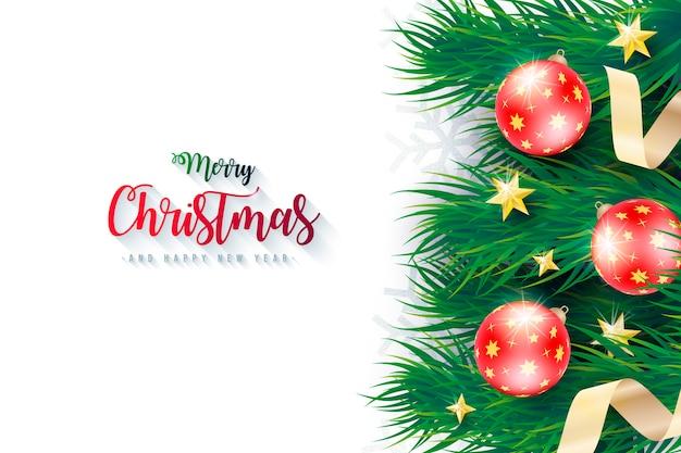 Realistische kerst achtergrond met groene takken Gratis Vector