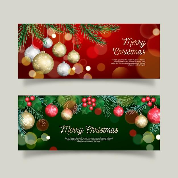 Realistische kerst banners set Gratis Vector