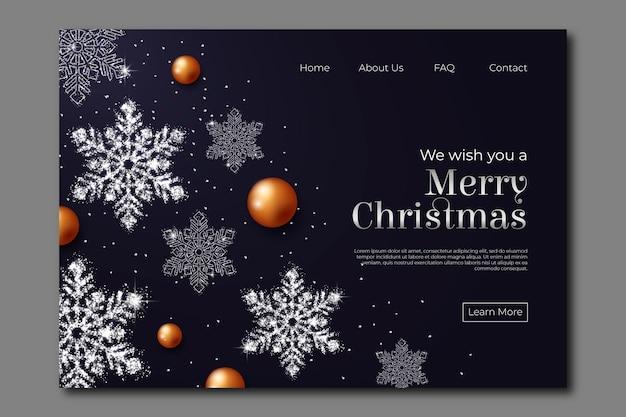 Realistische kerst bestemmingspagina Gratis Vector