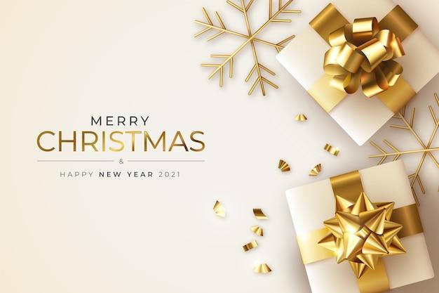Realistische kerst- en nieuwjaarswenskaart met cadeautjes en sneeuwvlokken Gratis Vector
