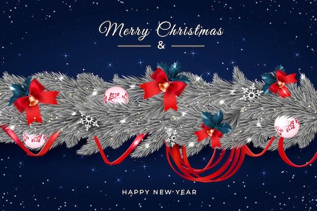 Realistische kerst klatergoud achtergrond met klokken Gratis Vector