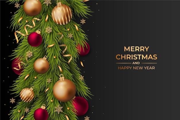 Realistische kerst klatergoud achtergrond Gratis Vector