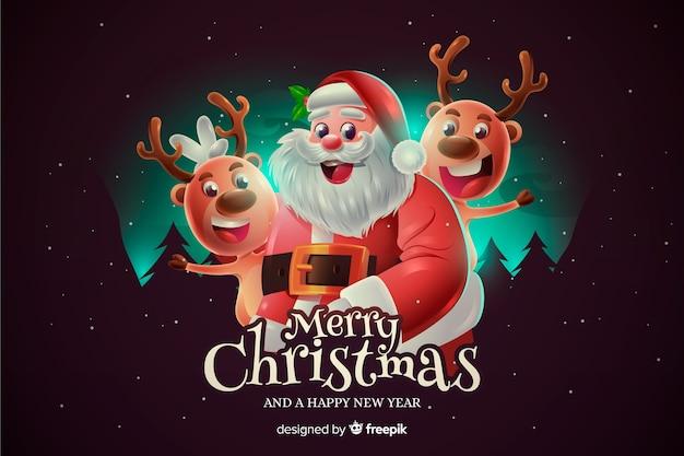 Realistische kerst santa achtergrond Gratis Vector