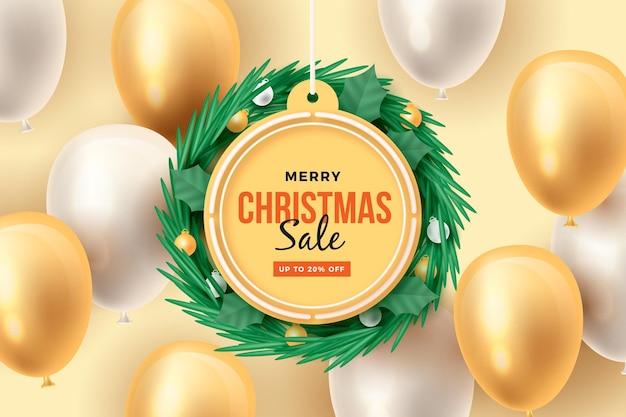 Realistische kerst verkoop concept Gratis Vector