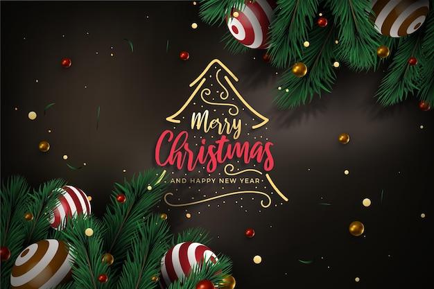 Realistische kerstboom takken achtergrond Gratis Vector