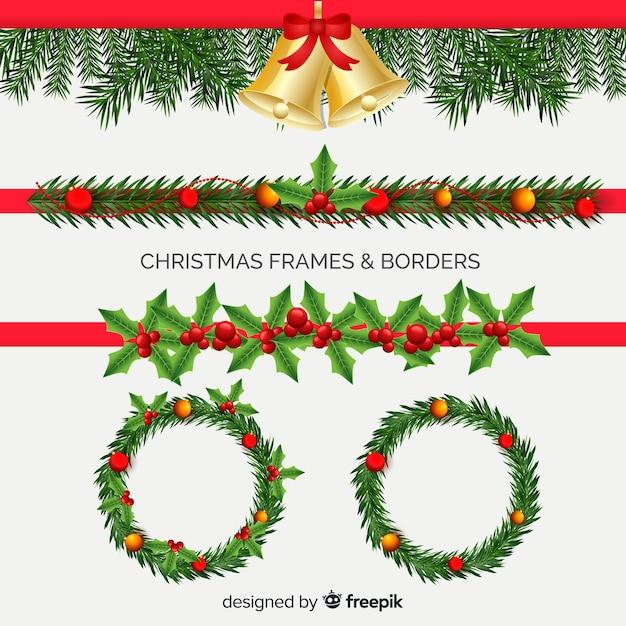 Realistische kerstframe-collectie Gratis Vector
