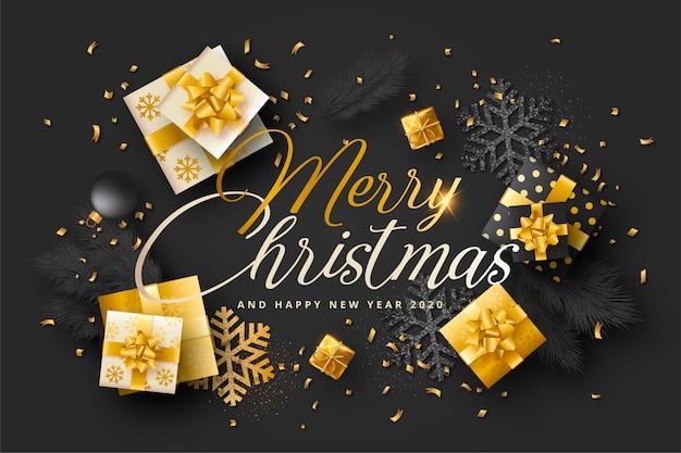 Realistische kerstkaart met zwarte en gouden presenteert Gratis Vector