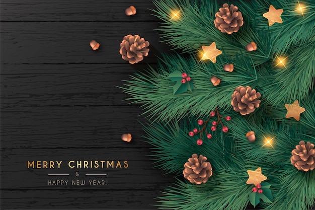 Realistische kerstkaart op zwarte houten achtergrond Gratis Vector