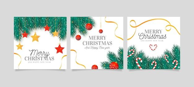Realistische kerstkaarten collectie Gratis Vector