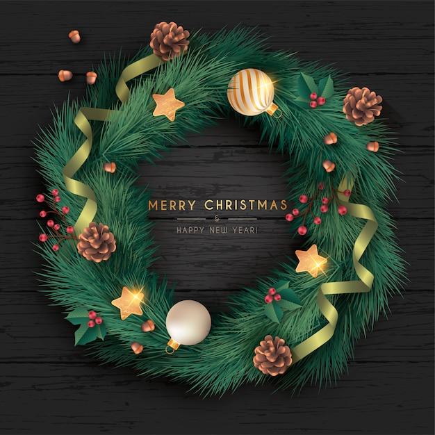 Realistische kerstkrans op zwarte houten achtergrond Gratis Vector