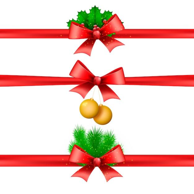 Realistische kerstlintcollectie Gratis Vector