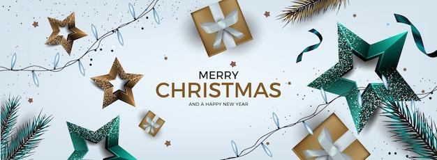 Realistische kerstmisachtergrond in elegante stijl Gratis Vector