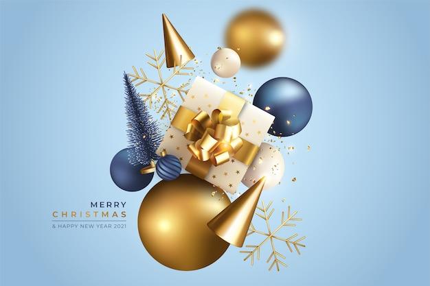 Realistische kerstmisachtergrond met vliegende ornamenten Gratis Vector