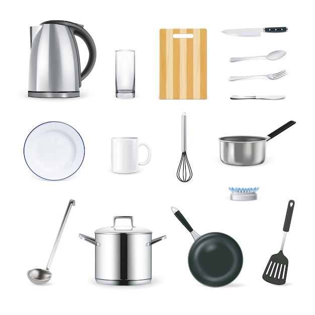 Realistische keukenbenodigdheden icons set Gratis Vector