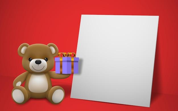 Realistische kleine schattige glimlachende baby beer pop karakter met een cadeau en zittend op een wit frame met rode achtergrond. een dier beer cartoon ontspannen gebaar. Premium Vector