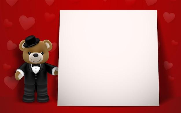 Realistische kleine schattige glimlachende beerpop draagt smoking karakter met een geschenkdoos en naast een wit frame op rode achtergrond. valentijnsdag en liefde concept Premium Vector