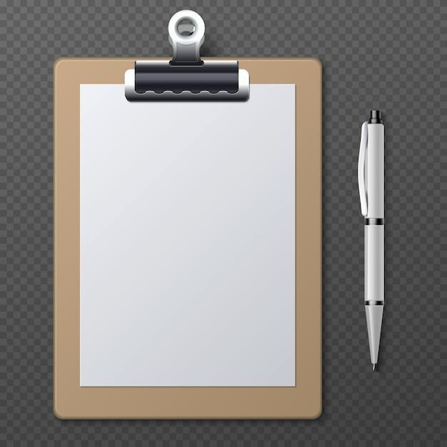 Realistische klemborden met leeg witboek blad en pen. vector bedrijfsklembordblocnote en document bladdocument met penillustratie Premium Vector