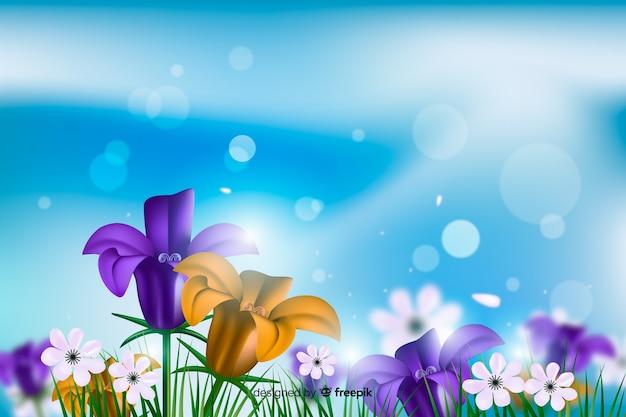 Realistische kleurrijke bloemenachtergrond Gratis Vector