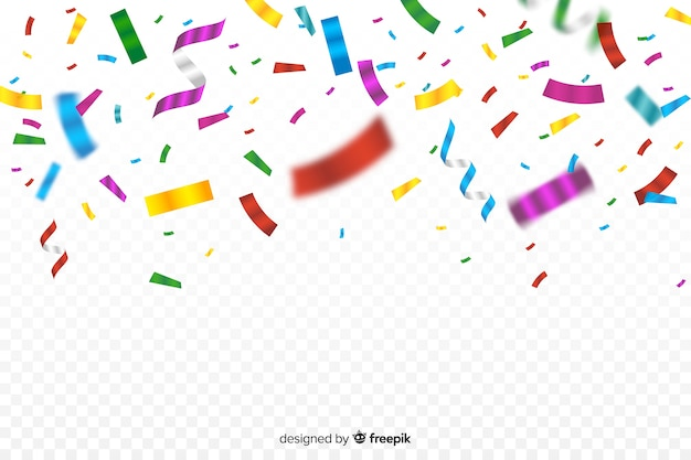Realistische kleurrijke confetti achtergrond Gratis Vector