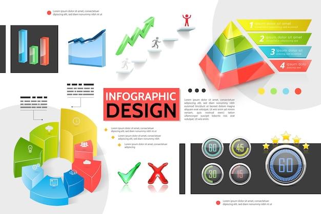 Realistische kleurrijke infographic concept met marketing piramide grafieken grafieken bars pictogrammen bedrijfsinformatie indicatoren tik elementen groeiende pijl illustratie Gratis Vector
