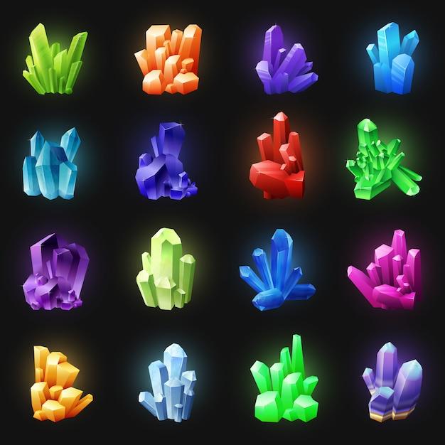 Realistische kleurrijke kristallen op zwarte achtergrond Gratis Vector