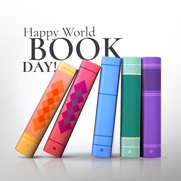 Realistische kleurrijke opstelling van boeken Gratis Vector