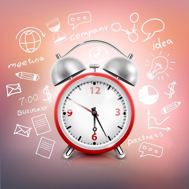 Realistische klok bedrijfsstrategie samenstelling Gratis Vector