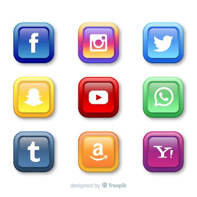Realistische knoppen met social media logo-collectie Premium Vector