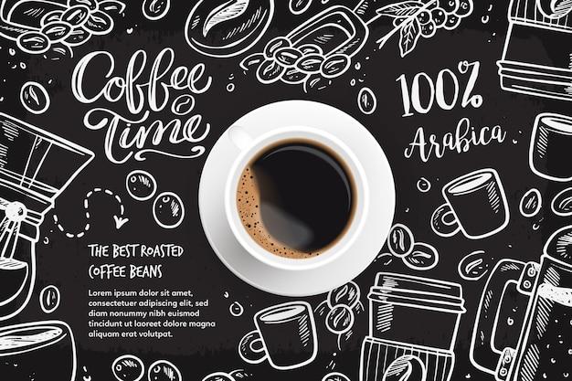 Realistische koffieachtergrond met tekeningen Gratis Vector
