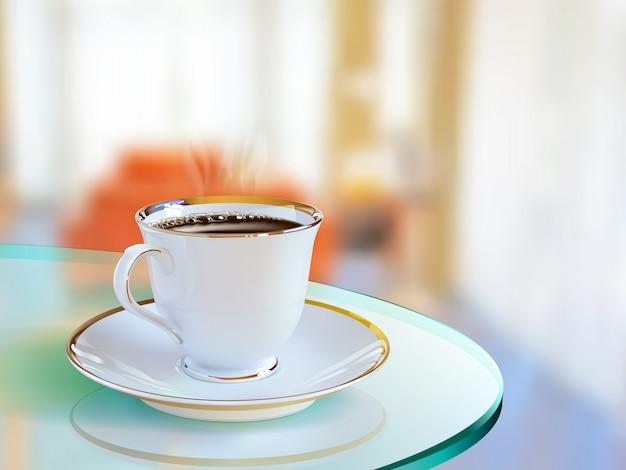 Realistische koffiekopje van vector kunst in de woonkamer Premium Vector