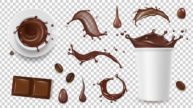 Realistische koffieset. drink spatten, koffiebonen en haal beker, chocolade geïsoleerd op transparante achtergrond Premium Vector