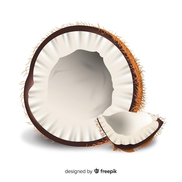 Realistische kokosnoot achtergrond Gratis Vector