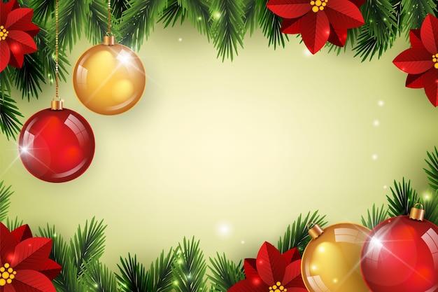 Realistische kopie ruimte kerstmis achtergrond Premium Vector