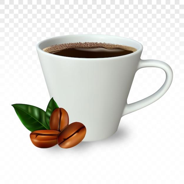 Realistische kopje koffie met koffiebonen. Premium Vector