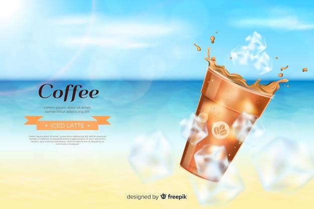 Realistische koude koffie advertentie Gratis Vector