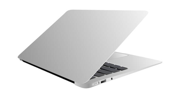 Realistische laptop helling 35 graden geïsoleerd wit Premium Vector