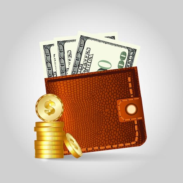 Realistische lederen portemonnee met dollars en munten. Premium Vector
