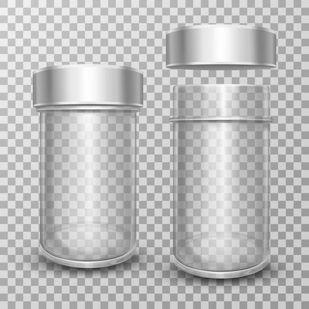 Realistische lege glazen potten met zilverkleurige metalen deksels Gratis Vector