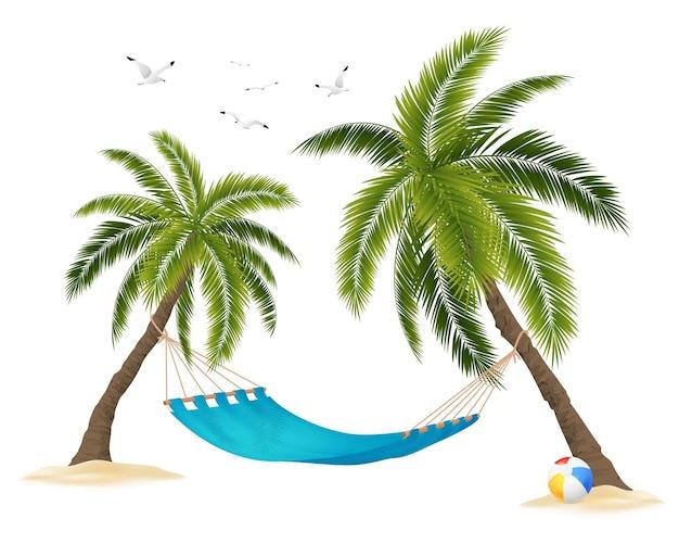 Realistische lege hangmat tussen palmbomen en zwerm vogels in de lucht op wit Gratis Vector
