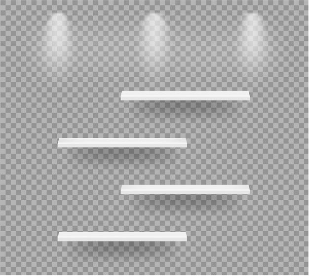 Realistische lege planken voor interieur om product te laten zien met licht en schaduwdoorzichtige illustratie Premium Vector