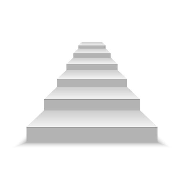 Realistische lege witte trappen. vector illustratie Premium Vector