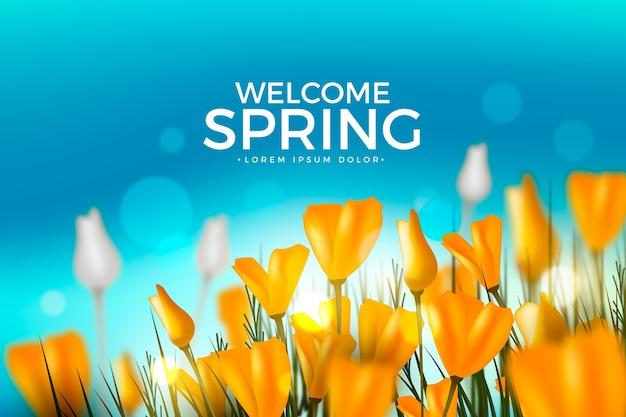 Realistische lente achtergrond met tulpen op veld Gratis Vector