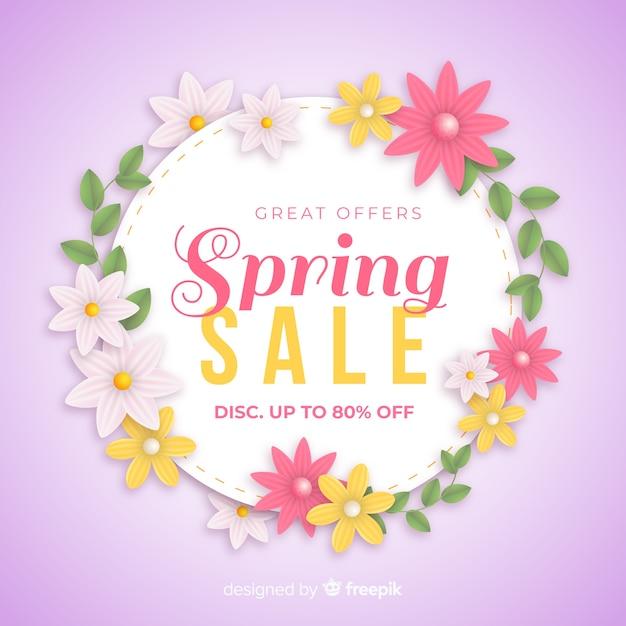 Realistische lente verkoop achtergrond Gratis Vector