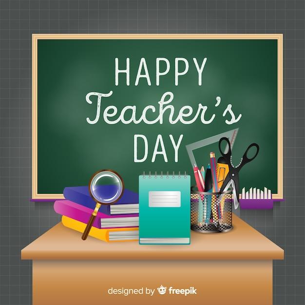 Realistische leraren dag achtergrond Gratis Vector